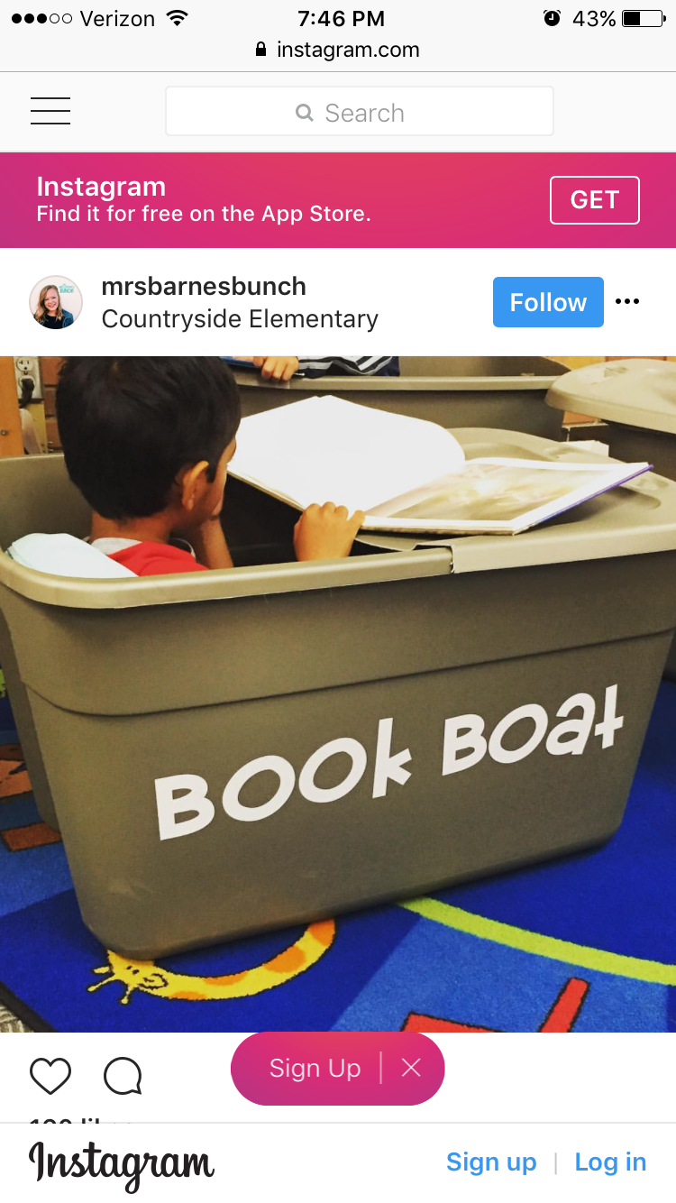 Book Boat Rubbermaid tub squished reading space sensory small spaces ...