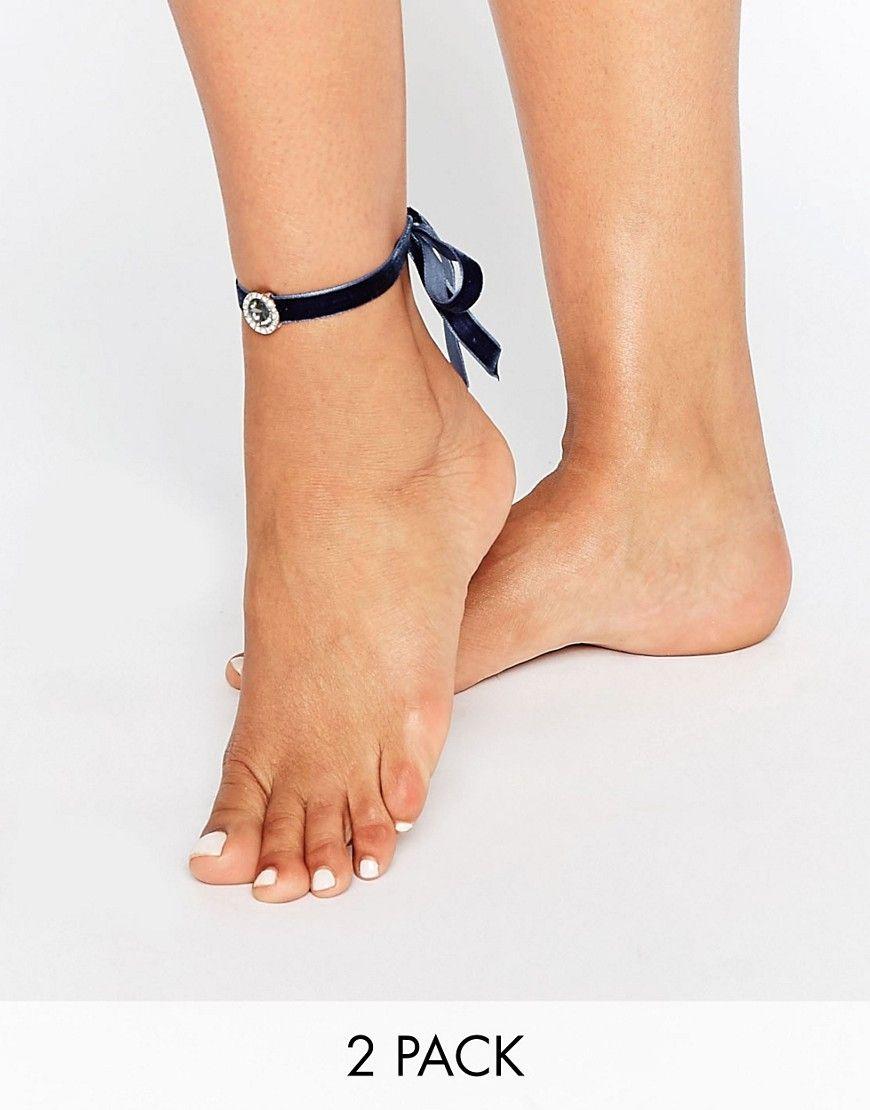 ASOS+Pack+of+2+Velvet+Jewel+Anklets