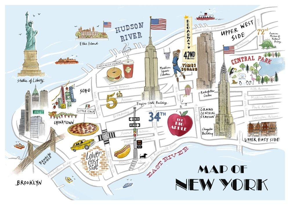 New York Attractions Map New York Map Tourist Attractions Travel