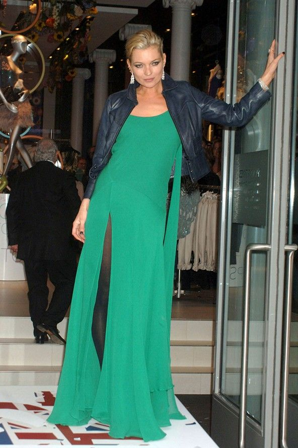 Kate Moss in a long green dress and blue leather jacket at Topshop ...