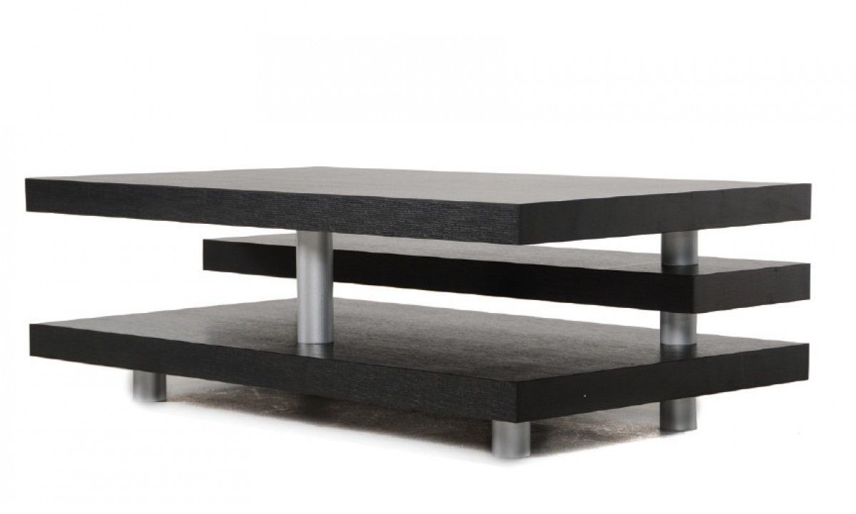 Best A X Adrian Modern Multi Tier Black Oak Coffee Table 640 x 480