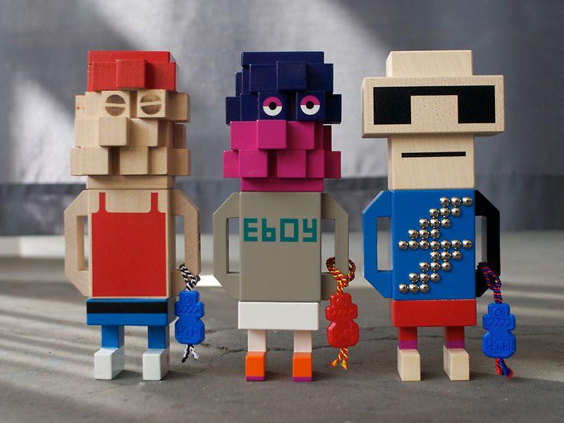 Puf gigante de eBoy para Freeasy estampado con la pixelizada ciudad de Londres
