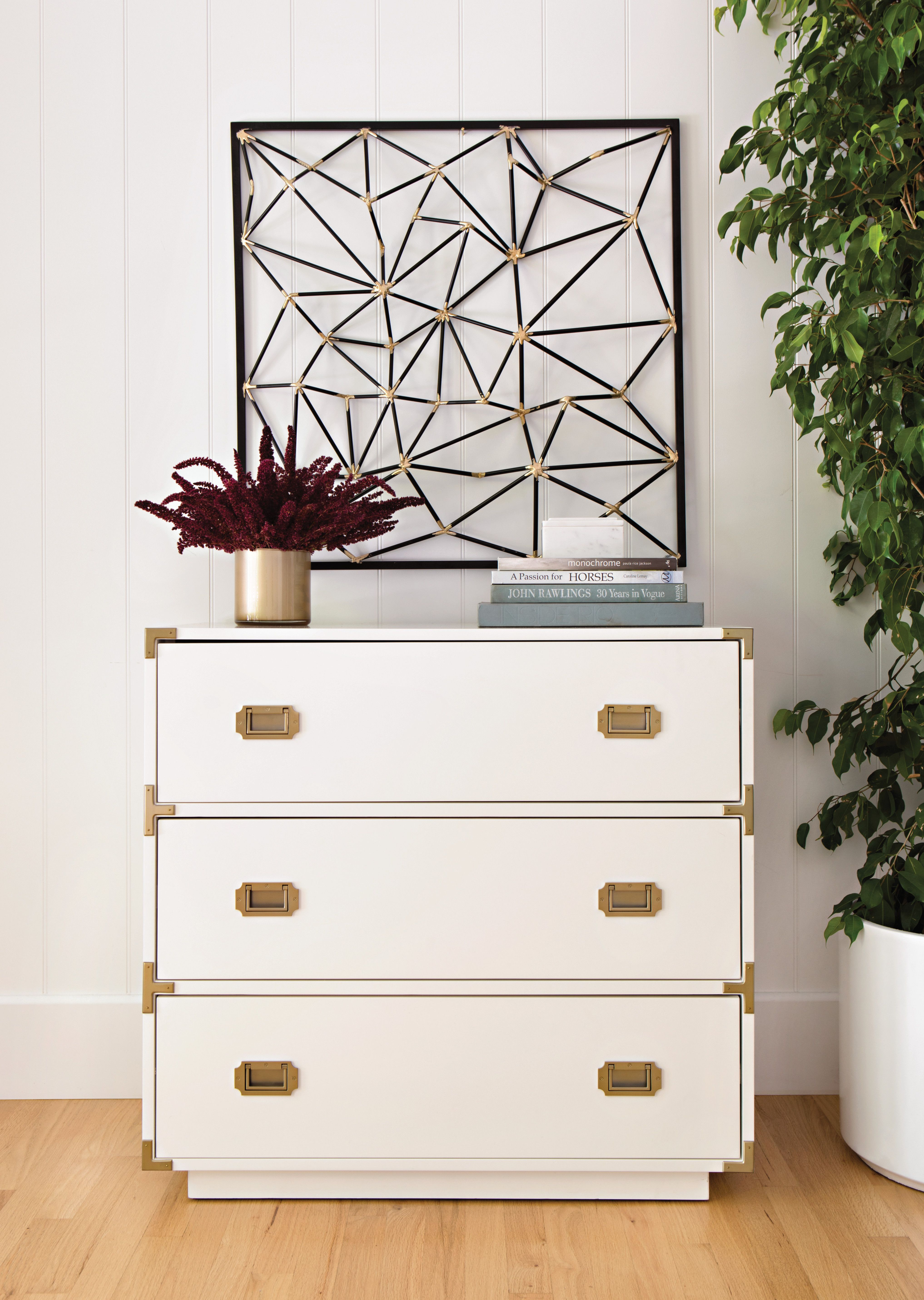 White Campaign Chest Details Like Recessed Metal Handles And Corner Brackets In Matte Mix And Match Bedroom Furniture Rustic Living Room Furniture Furniture