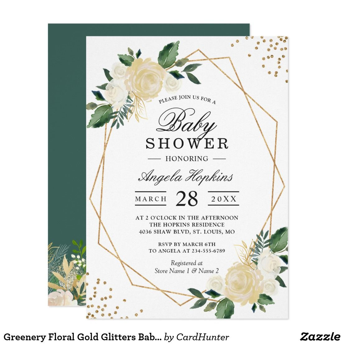 Greenery Floral Gold Glitters Baby Shower Brunch Card Gold Glitters ...