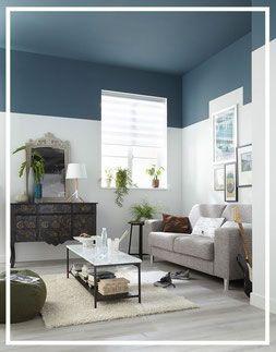 Habillez vos murs autrement! Peinture bleue, plafond et murs par ...