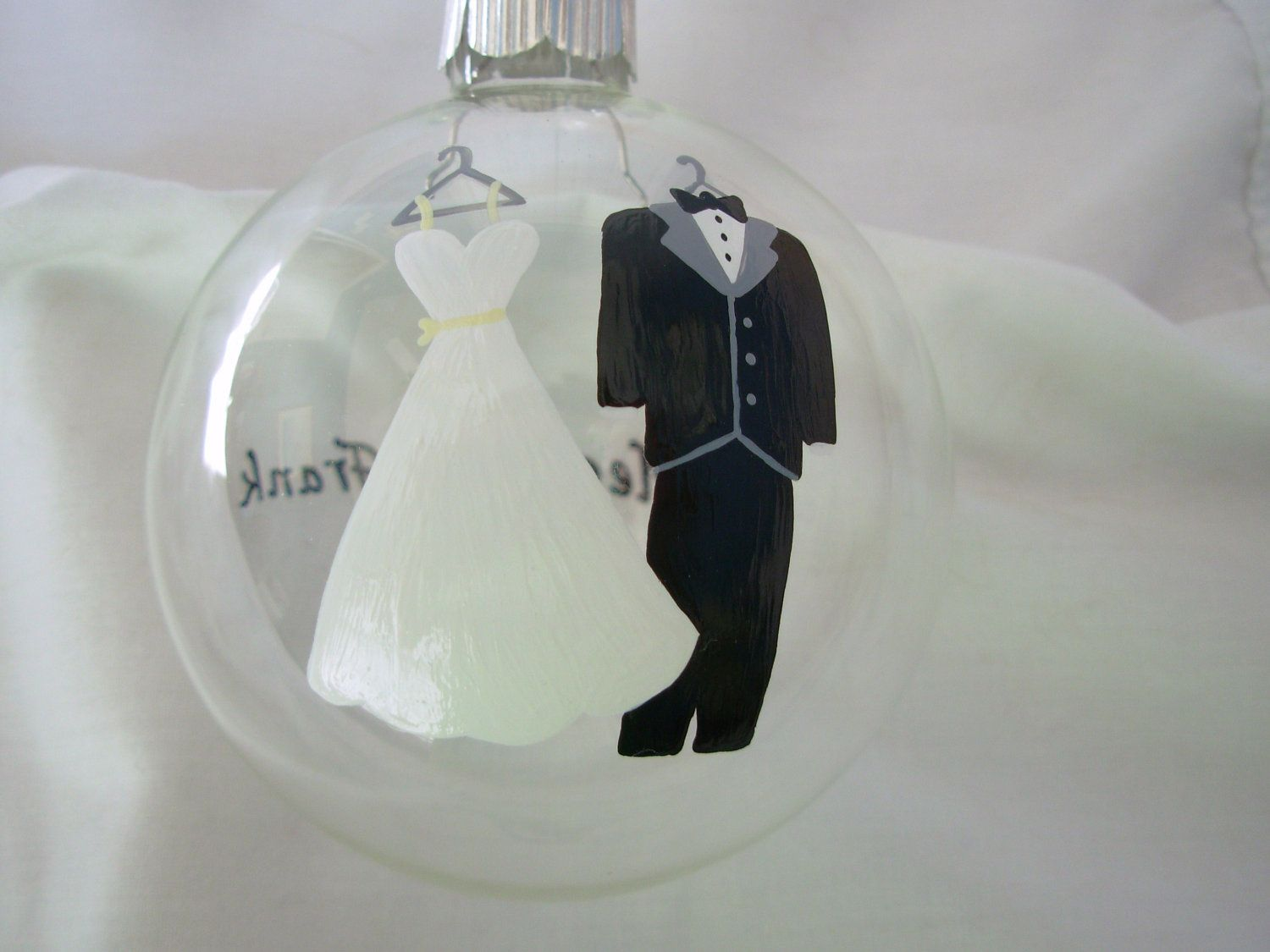 Wedding Christmas Ornament Handpainted Personalized, bride and ...
