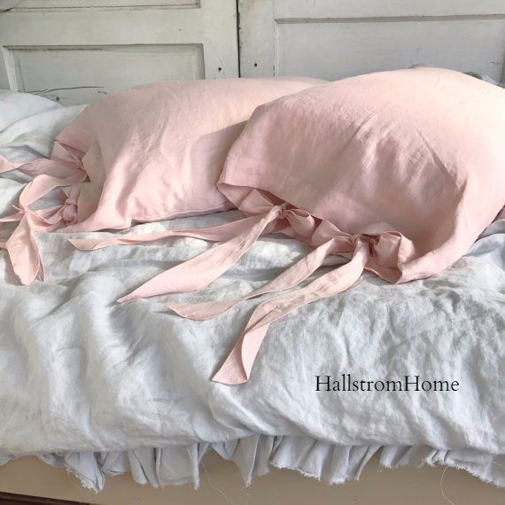 Two pale pink linen ruffled pillowcases Ikea standard. Standard size White lace