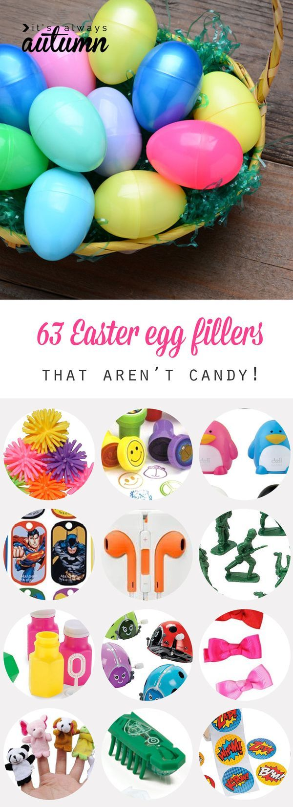 63 things to put in Easter eggs that aren't candy. Great ideas for non-candy egg fillers, plus links for where to get them!