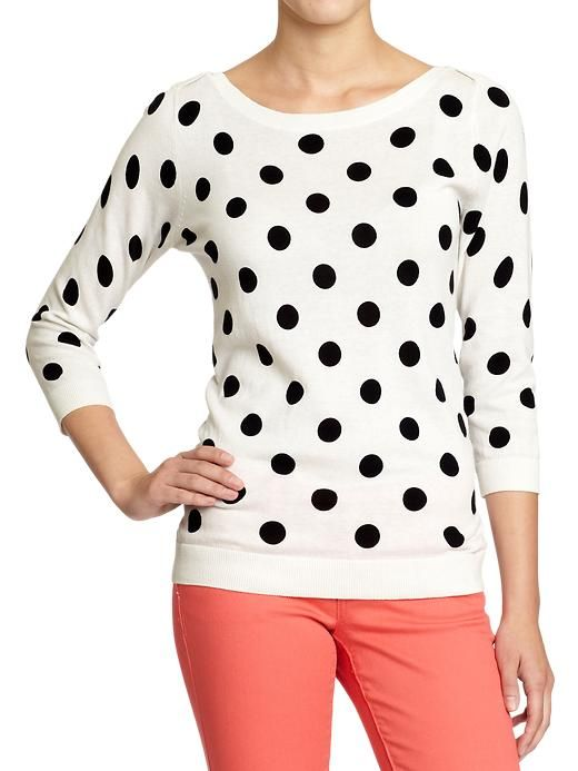 old navy boat neck polka dot sweater with colored jeans.. this would even look good with red jeans.