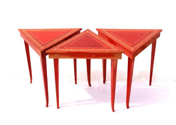 Vintage Italian Music Tables, Triangle Shaped Nesting Tables In Red Lacquer  With Gold Accents,