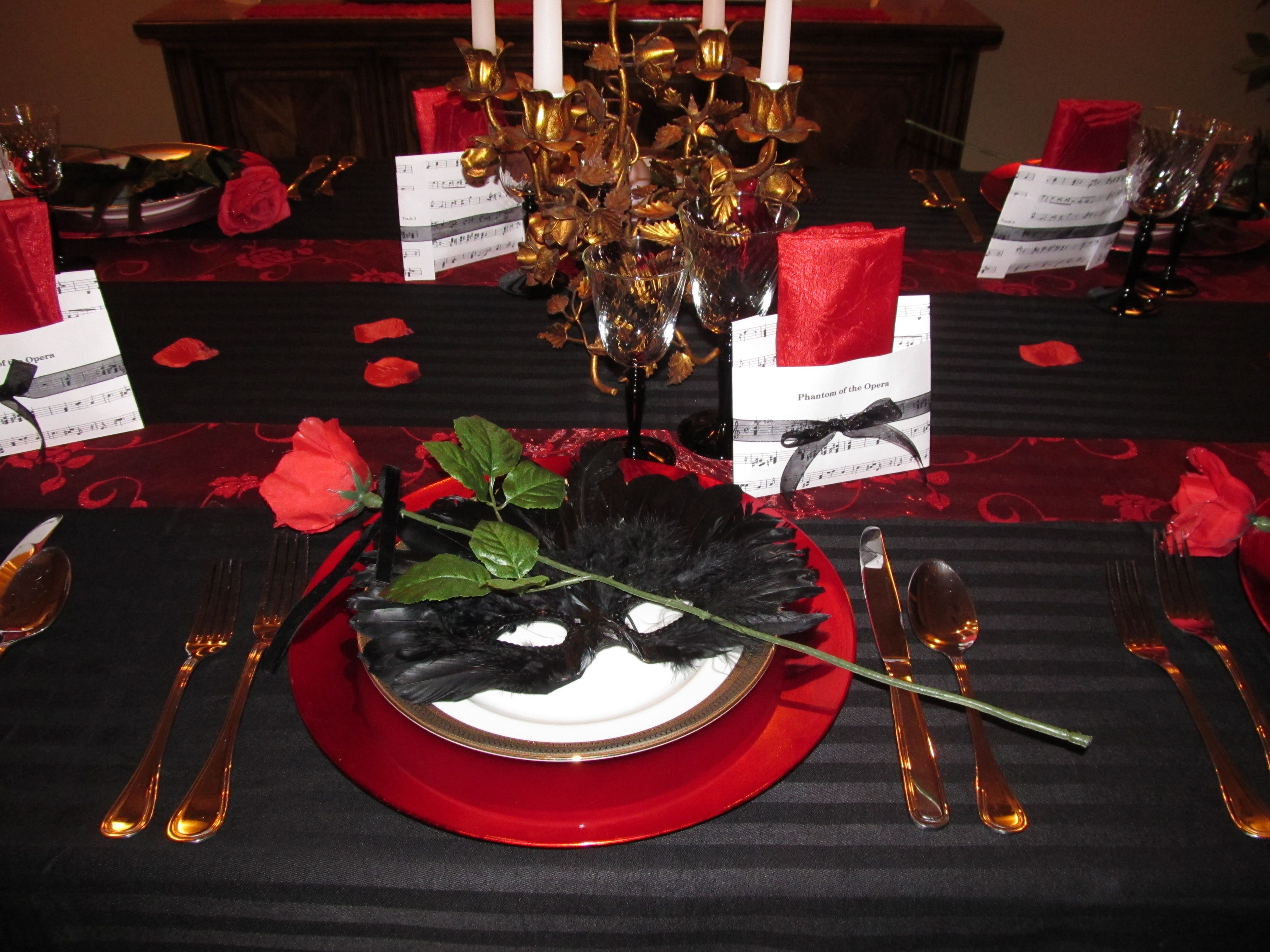 phantom of the opera evening table setting!!! in 2019