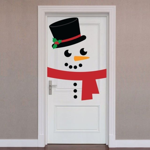 Christmas Snowman Door Cover Cover Holiday Christmas Door: X-Large Holiday Detachable Wall