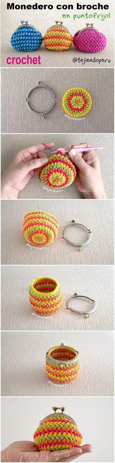 Monederos con broche tejidos a crochet en punto frijol o bean stitch ...