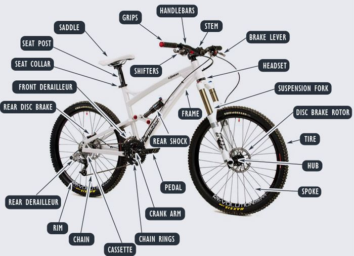 Mountain Bike Parts Diagram | Bike parts | Mountain bike