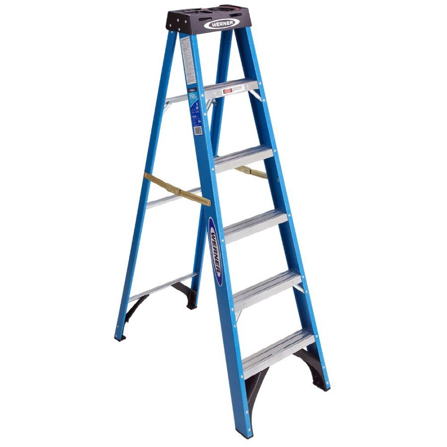 Werner 6 Ft Fiberglass 250 Lb Type I Step Ladder Step Ladders Ladder Fiberglass