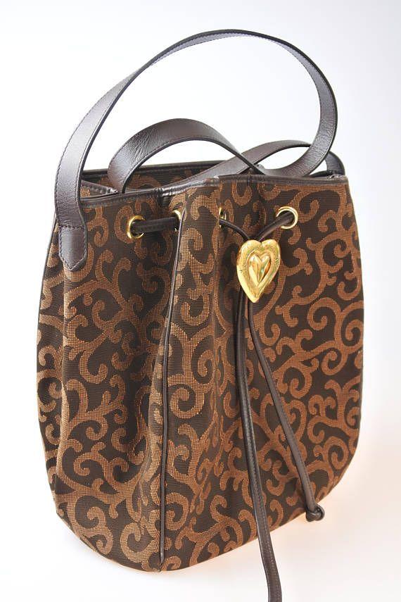 Yves Saint Laurent YSL Vintage Arabesque Canvas Heart Logo ... 412753fcd664d