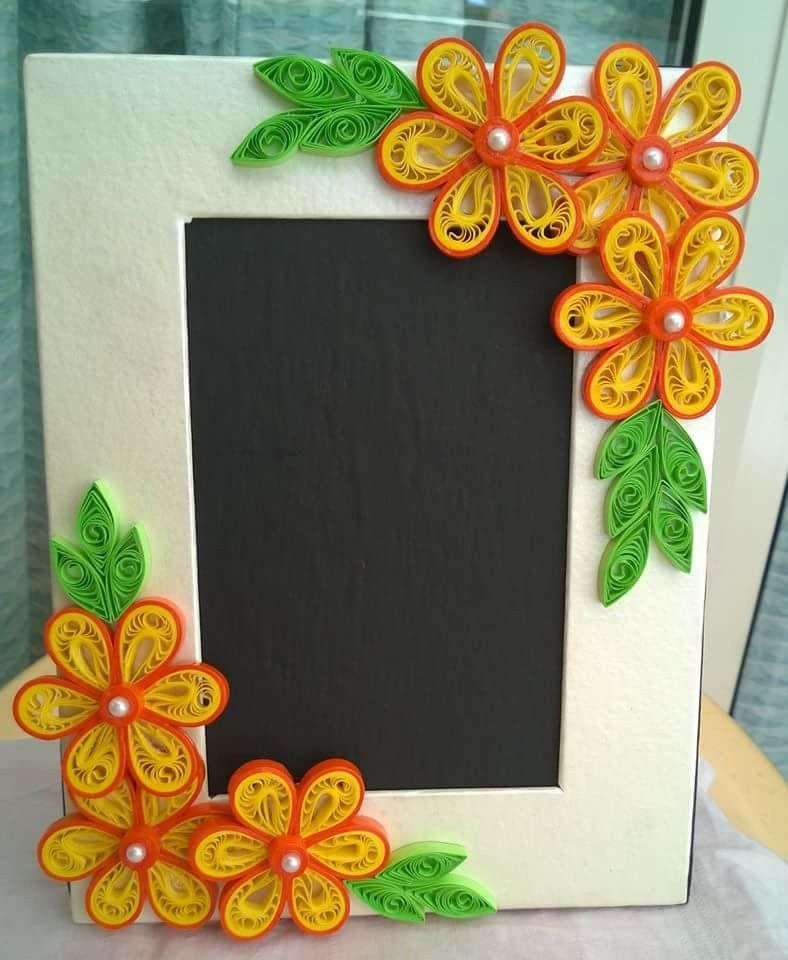 Кошечка бантиком, картинка квиллинга с цветами и рамкой