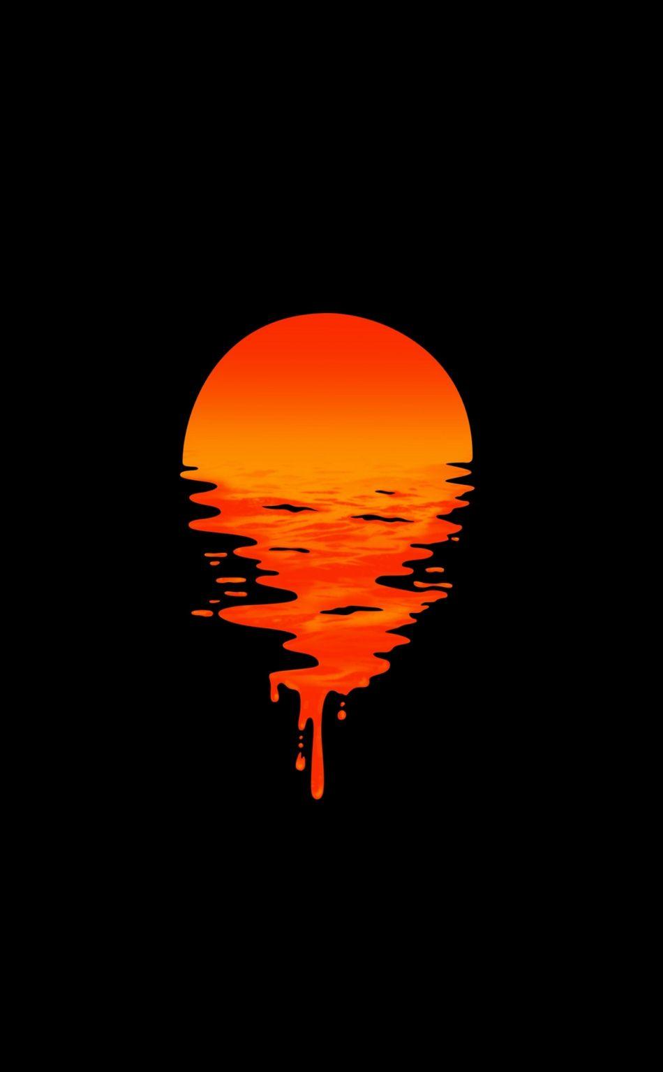 950x1534 Lake Sunset Orange Minimal Dark Wallpaper Dark Phone Wallpapers Dark Wallpaper Hd Dark Wallpapers