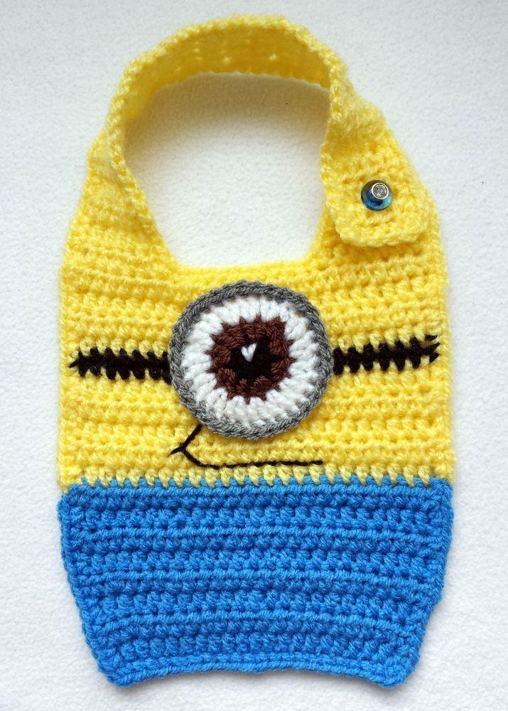 Hand crochet baby minion bibs photo prop gift size 0-12 months in ...