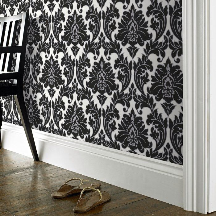 Love this damask and wooden flooring Bedroom wallpaper