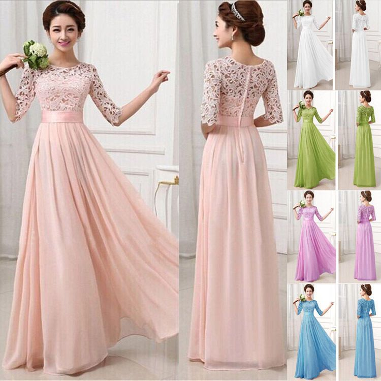 Women 39 s half sleeve lace chiffon long maxi evening for Long sleeve chiffon wedding dress