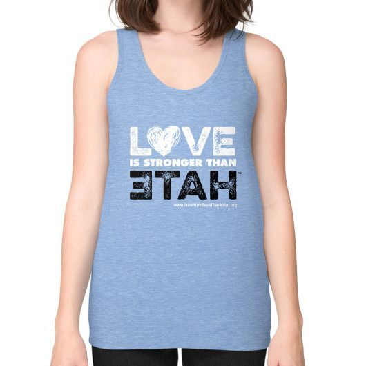 LOVE is stronger than hate Unisex Fine Jersey Tank (on woman)