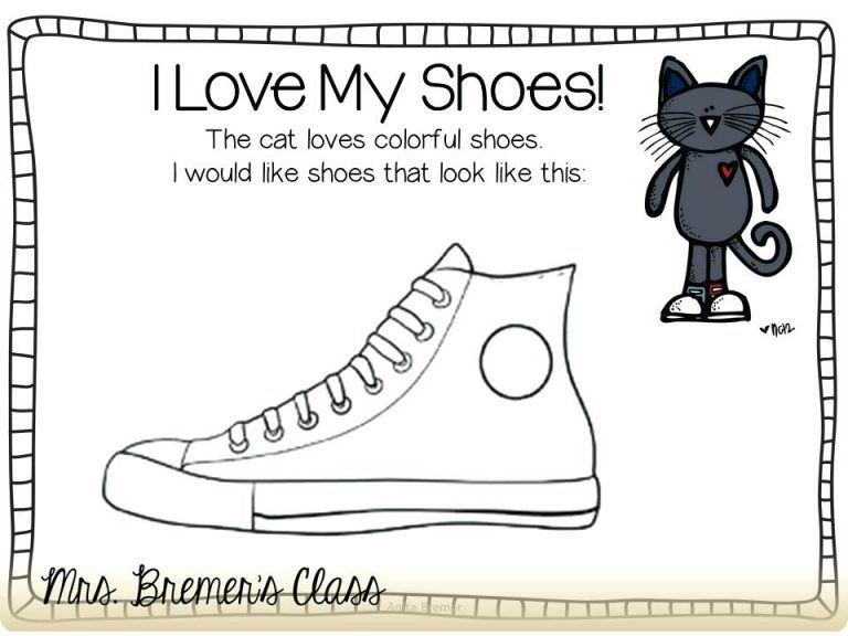 Pete The Cat Coloring Page Free Printable I Love My White Shoes