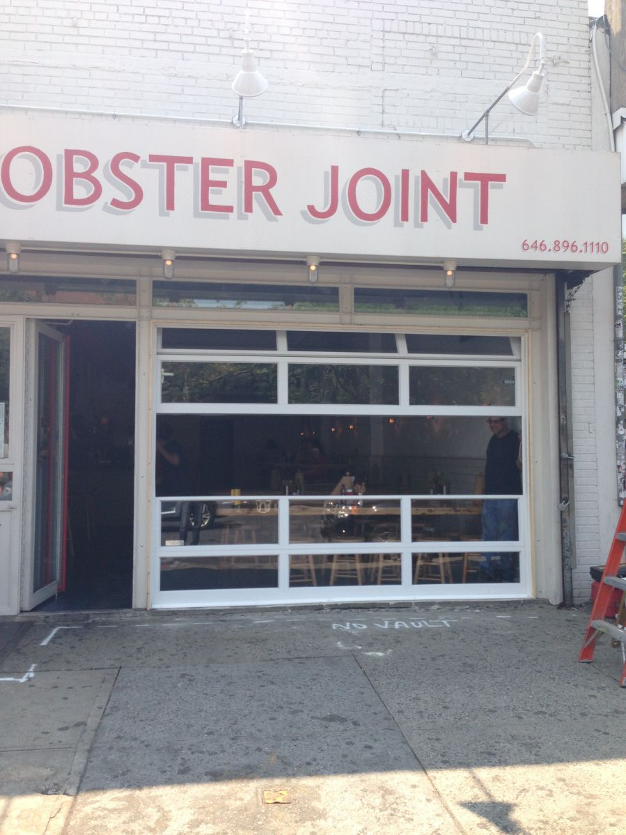 Lobster Joint Glass Garage Door With Fixed Sections Below Operable