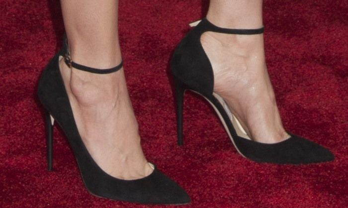 Alison Brie In Black Jimmy Choo Lucy Ankle Strap Pointy