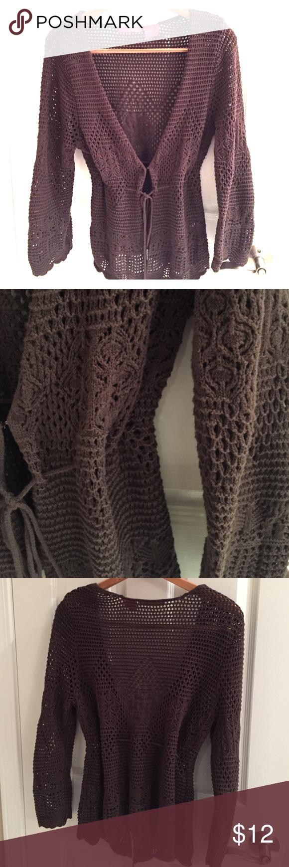 Thalia sodi brown open weave cardigan sweater | Open weave, Thalia ...