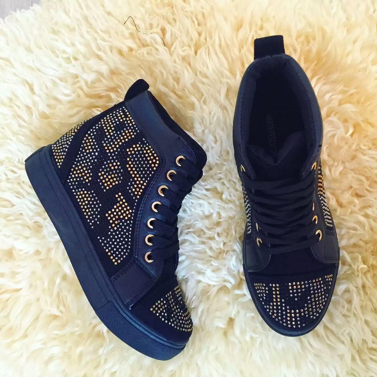 Sneakers con zeppa interna e strass oro/argento Martin Pescatore. Sneakers  donna con strass