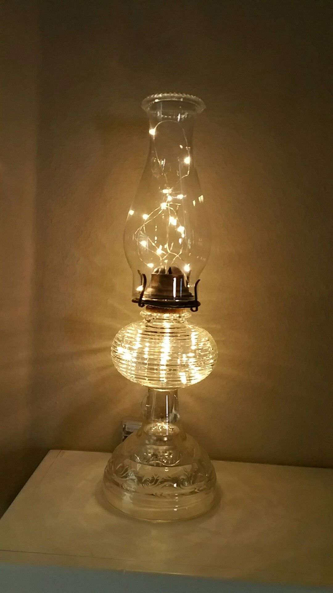 Battery operated clear wire mini LED lights in antique lantern. | I ...