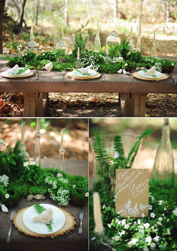 Greenery Filled Forest Wedding Table Ideas