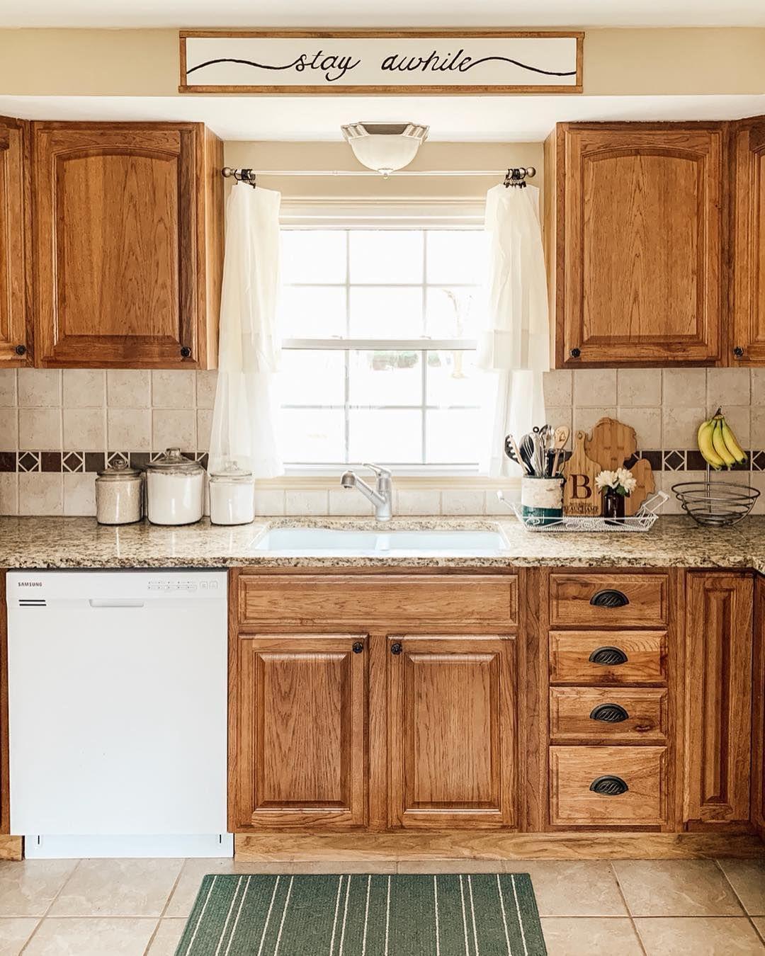 Wood Kitchen With Diy Sign Kitchen Remodel Wood Kitchen Kitchen