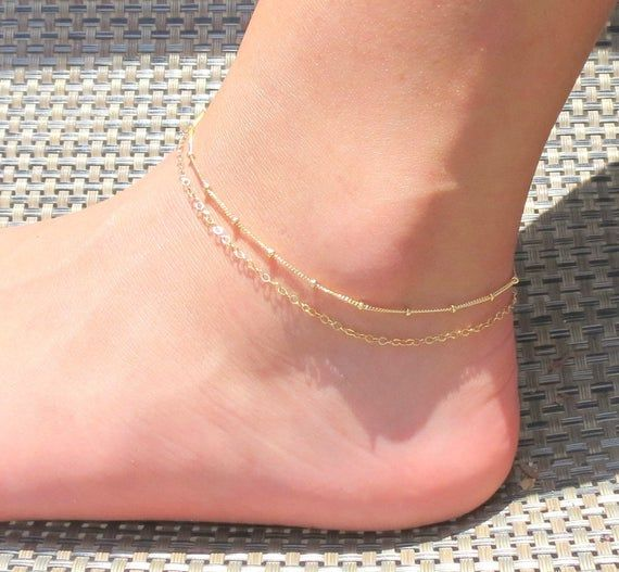 Photo of Gold And Dainty Anklet, Sterling Silver Anklet, Double Layer Anklets, Gold Anklet Set, Silver Anklet Set, Set of 2 Anklets, Minimalist Style