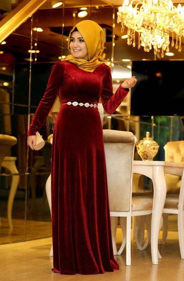 Pinar Sems Bordo Duz Kadife Abiye Ala Tesettur Tesettur Giyim Ferace Elbise Sal Hasema The Dress Elbise Dress Outfits