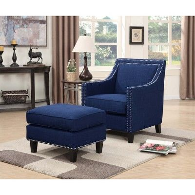 Elkin Accent Chair With Chrome Nailheads Blue Picket
