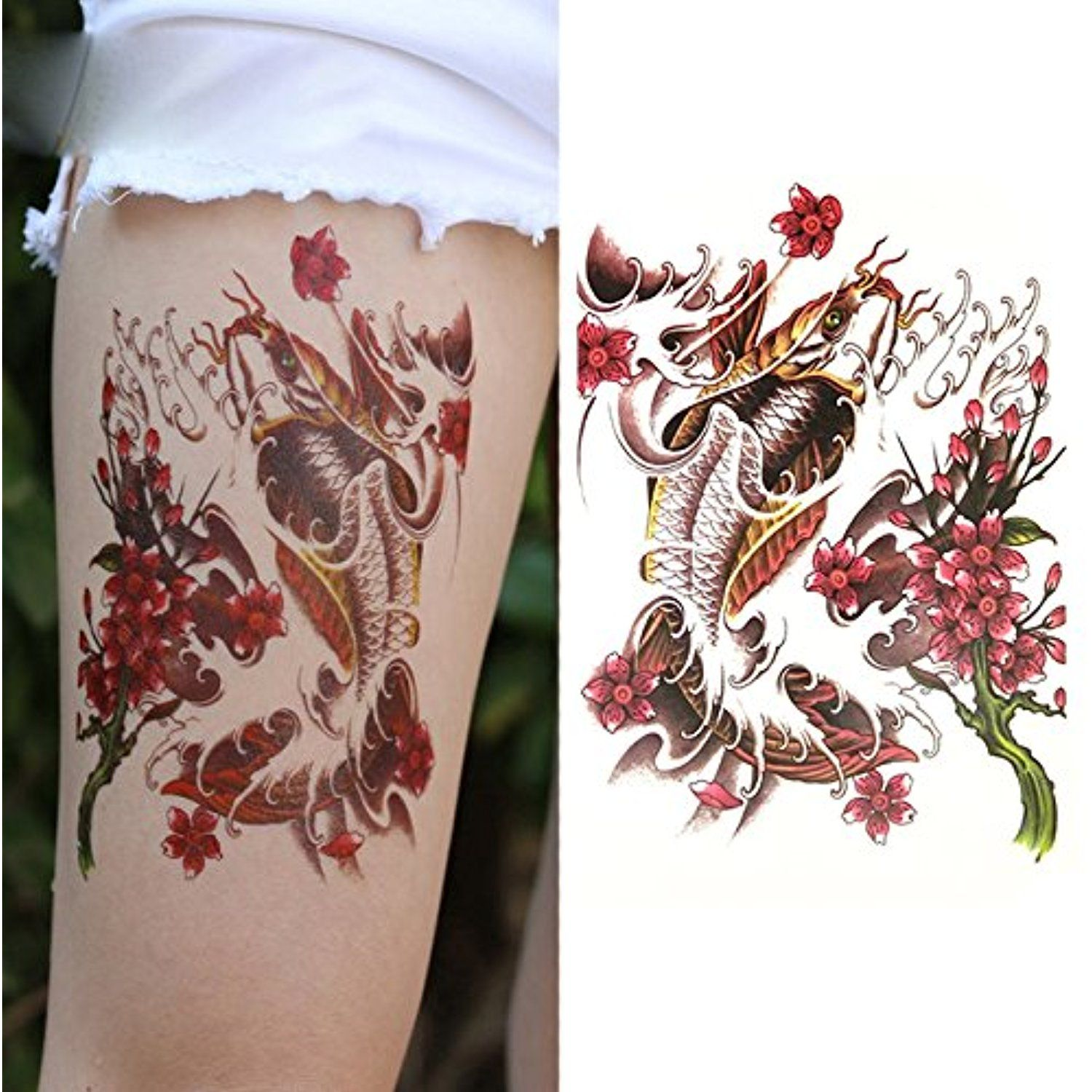 c205e875b Oottati Old School Carp Koi Flower Arm Temporary Tattoo (2 Sheets) * Visit  the image link more details. (This is an affiliate link and I receive a ...