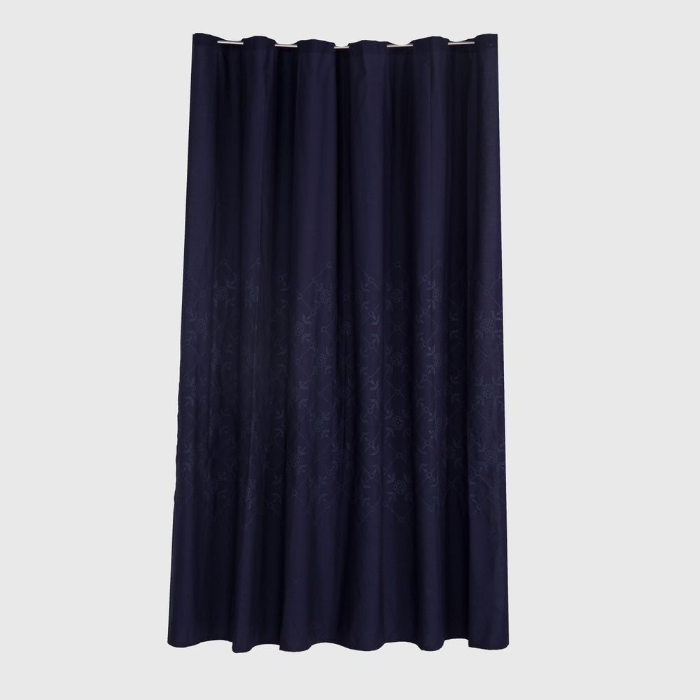 Threshold Shower Curtain Fabric Navy Blue Lattice Embroidered 72 X