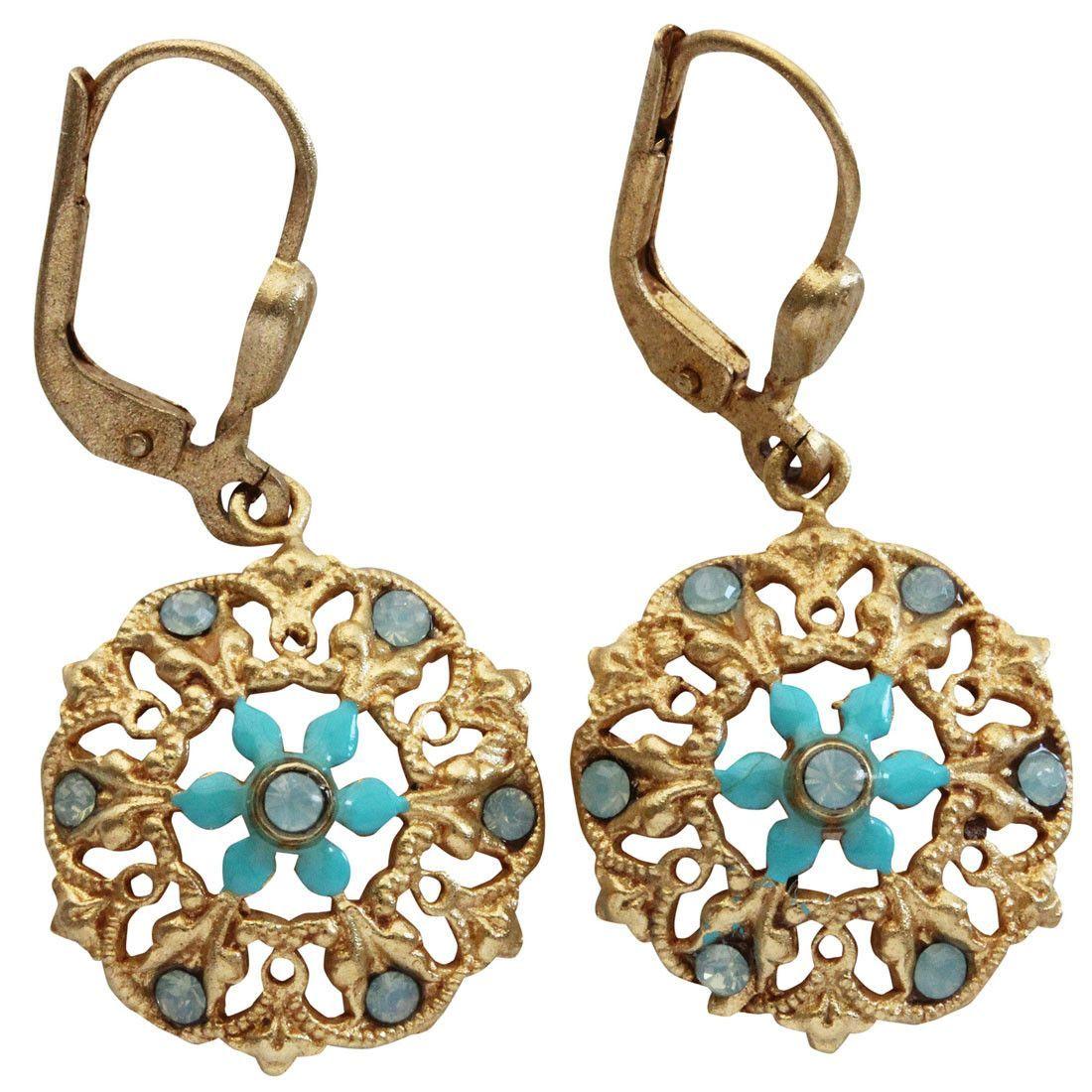 Catherine Popesco 14k Gold Plated Enamel Floret Earrings, 3119G Turquoise Blue