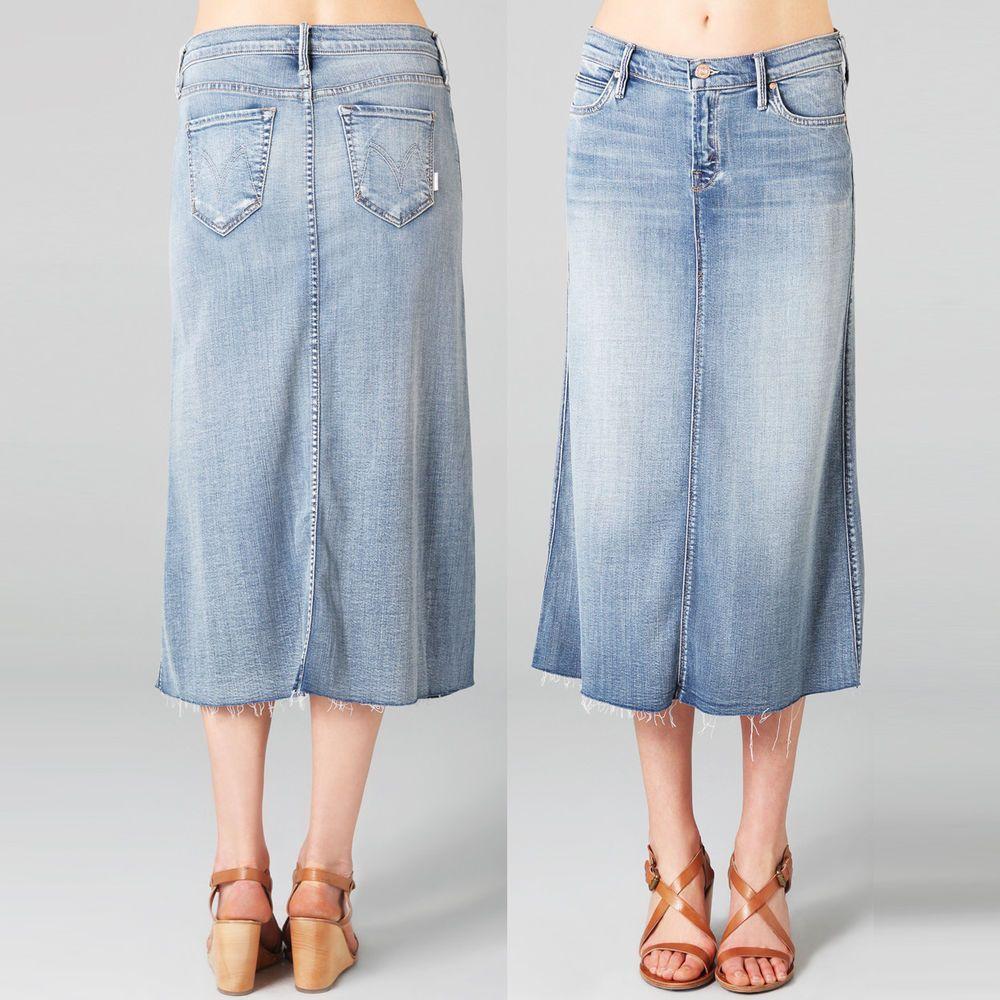e6090e93b8 Mother Straight A Skirt Denim Midi Blue Jean Long Frayed Maxi Modest A-Line  26 #Mother #OverallSkirt