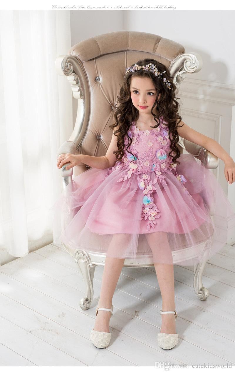 girls party dress leaves appliques elegant purple tulle