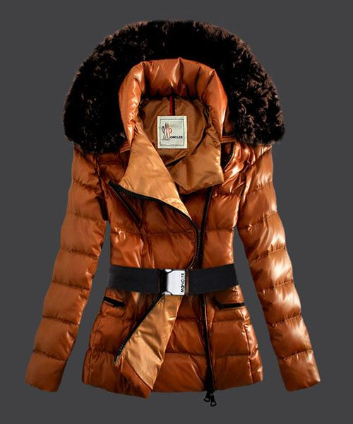 2013 New! Moncler Faucon Women Down Jacket Zip With Belt Yellow! Only  $265.9USD