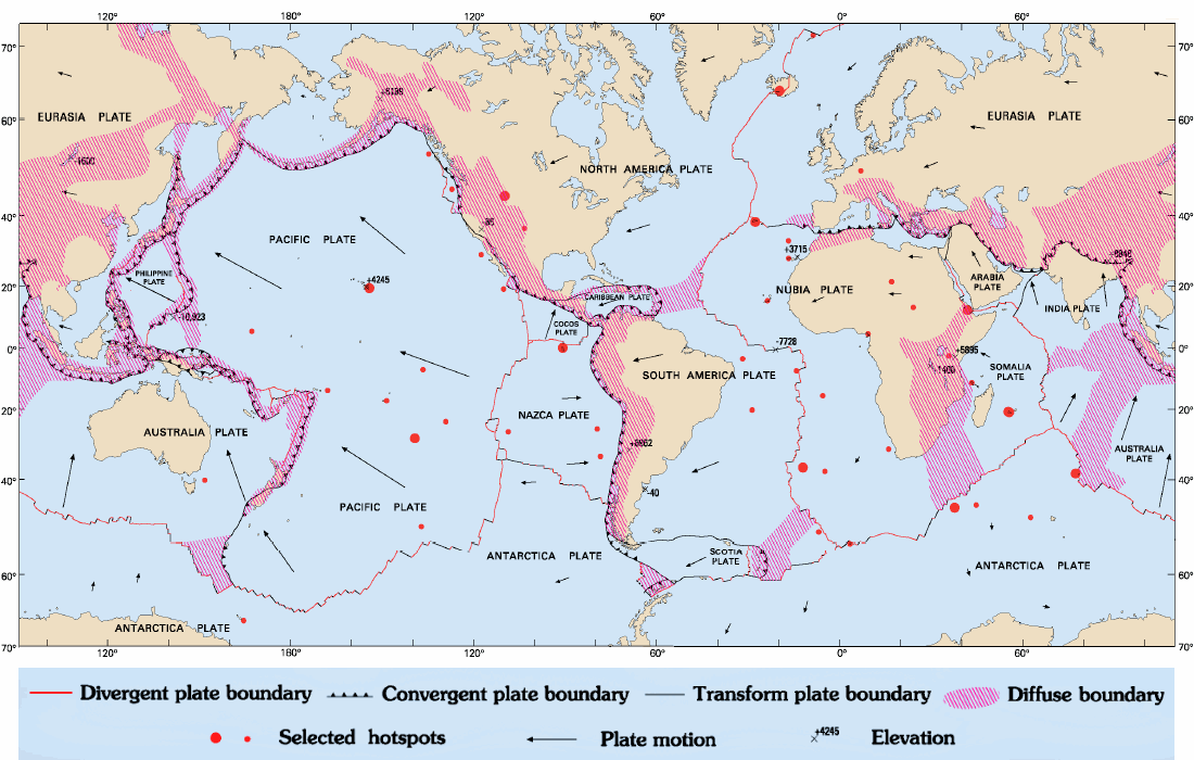 Map Of Tectonic Plates And Their Boundaries Plate Boundaries