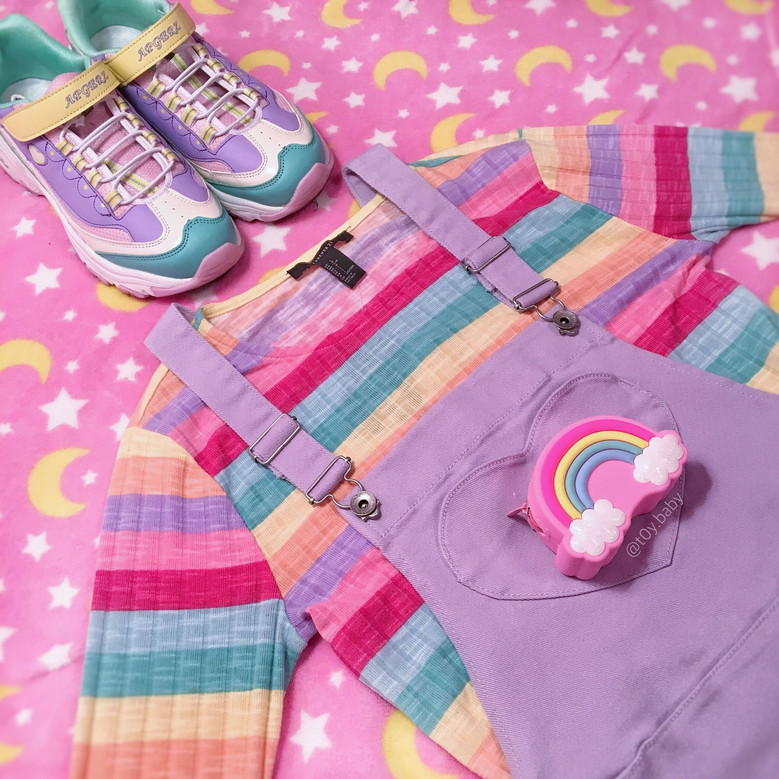 1310acee64b  aesthetic  rainbow  pastel  pink  shoes  ootd  outfit  fashion  overalls   stripes  kawaii  cute  kawaiifashion  kawaiiaesthetic  jfashion   harajukufashion ...