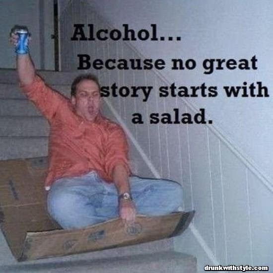 Alcohol Because No Great Story Starts With Salad DrunkWithStyle - barney stinson resume video