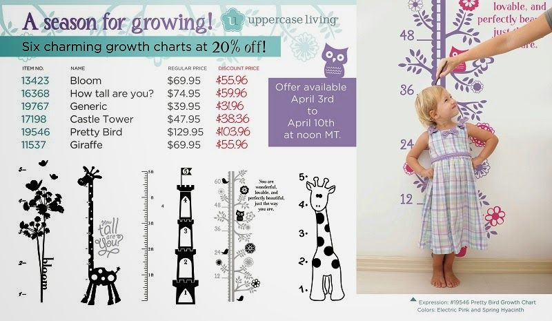 A Season for growing! They say kids grow while we're not looking. Use one of these cute and creative growth charts as an affirmation of your child's growth as well as tracking their height. Dress up the charts you choose with names and embellishments using our MyDesign suite! Discounted at 20% off! Take advantage of this offer now because it ends 4/10/14 at noon MT. #kids #growthchart #uppercaseliving #vinyl #vinyldecal #vinylwallart #walldecalst #vinylwalldecals #homedecoration #wallart