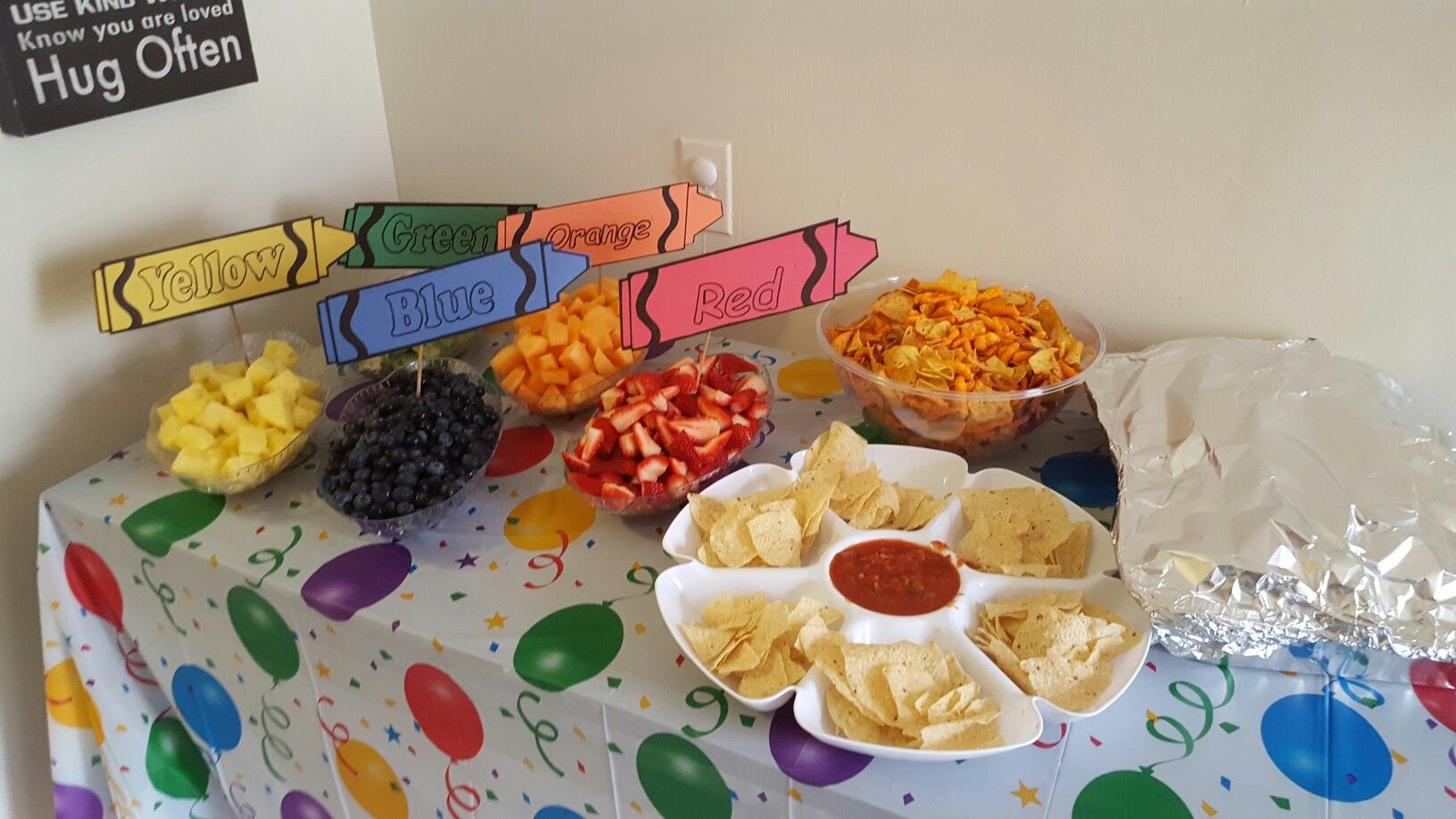 Snack table crayon labeled fruits