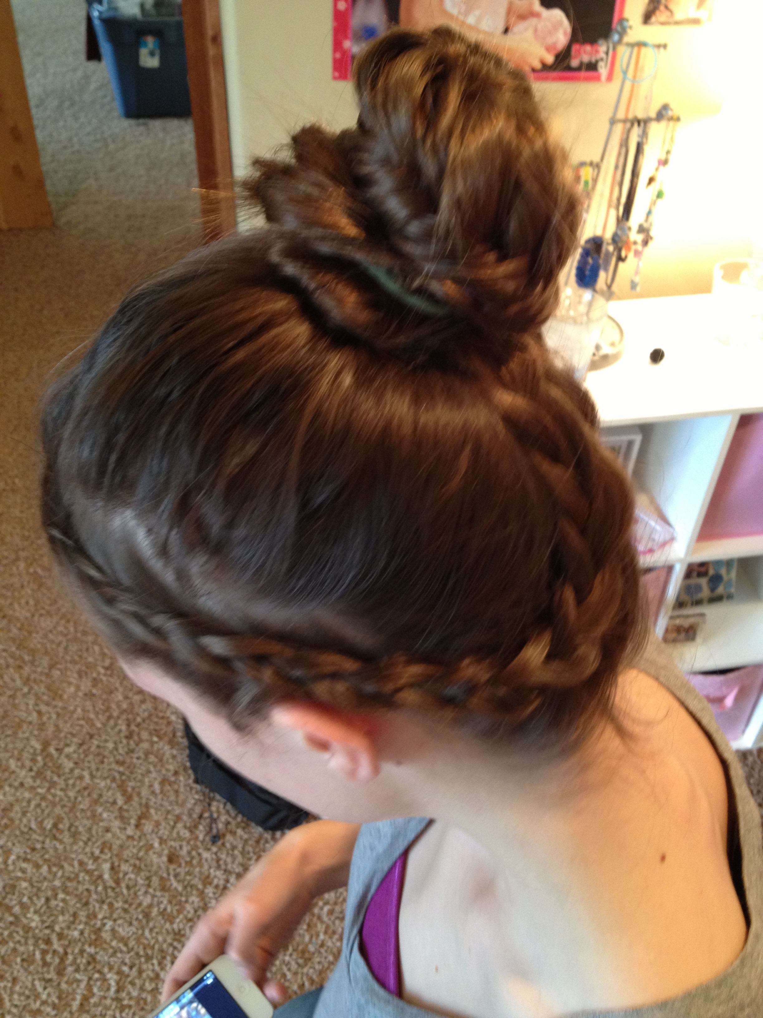 French In Side Out Braid Wrapped Into Fishtail Bun Hair