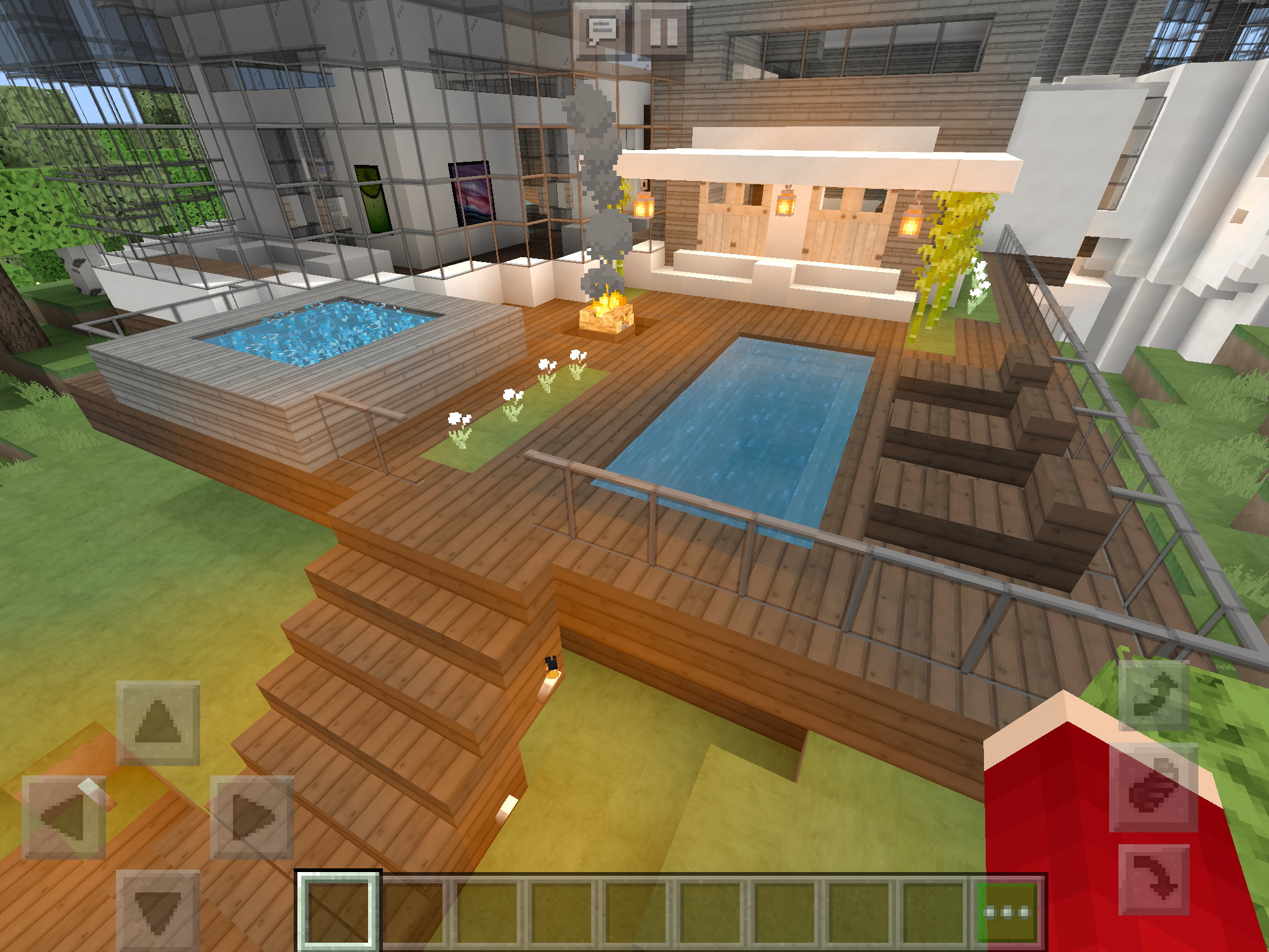 My Awesome Deck With A Lap Pool Fire Pit Hot Tub Sun Chairs And Bamboo Walls Minecraft Minecraft Bedroom Minecraft Room Minecraft Houses